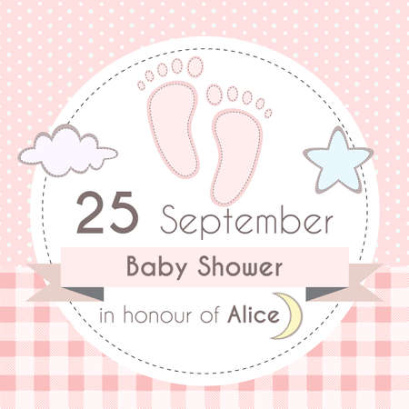 foot steps: Baby shower girl invitation card, template for scrapbooking with little foot steps, stars, moon and clouds. Vector illustration.