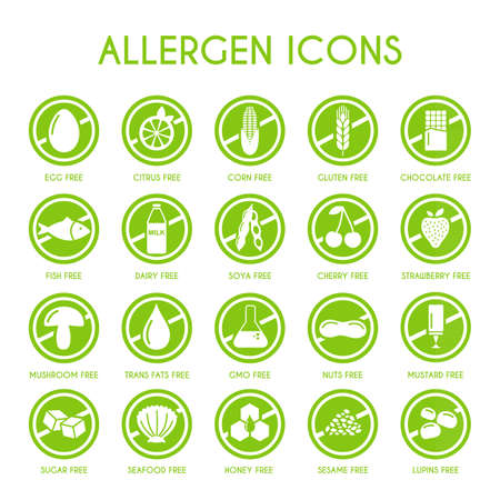 filberts: Allergen icons vector set Illustration