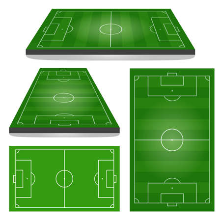 Set of Football Fields. Vertical and Horizontal. Vector illustration.