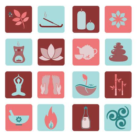 spa therapy: Set ayurveda icons illustration. Ayurveda isolated. Design elements for ayurveda center, yoga studio, spa center. Ayurveda sticker. Beauty icons set