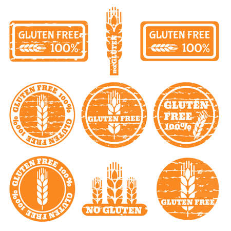 Set of grunge stamps with allergen icons. Gluten free icons.