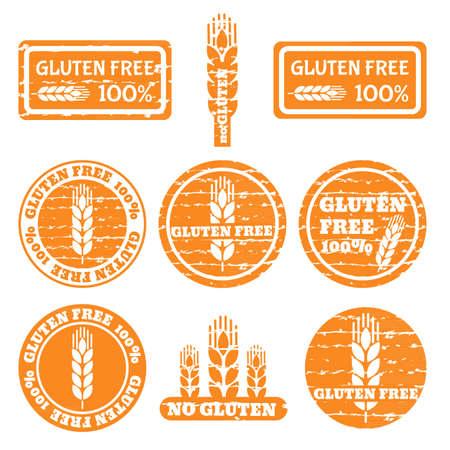 Set van grunge postzegels met allergeen iconen. Glutenvrij pictogrammen.
