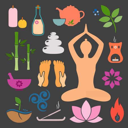 Set ayurveda icons. Ayurveda isolated. Design elements for ayurveda center, yoga studio, spa center. Ayurveda sticker. Beauty icons set