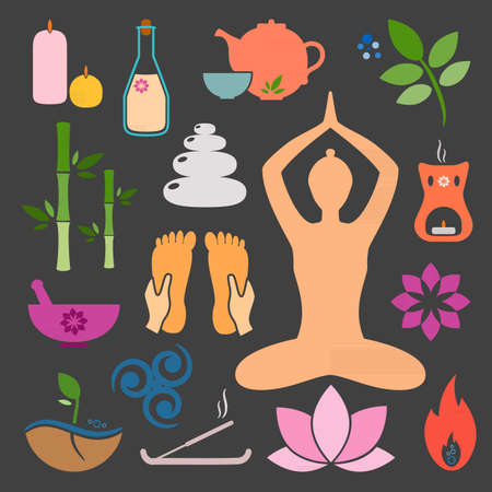 Set ayurveda icons. Ayurveda isolated. Design elements for ayurveda center, yoga studio, spa center. Ayurveda sticker. Beauty icons set