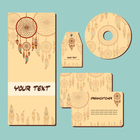 cd label: Corporate template design with with dreamcatcher and feathers. Abstract background. Ethnic design for card, invitation, label; presentation, CD; boho, wedding banner.