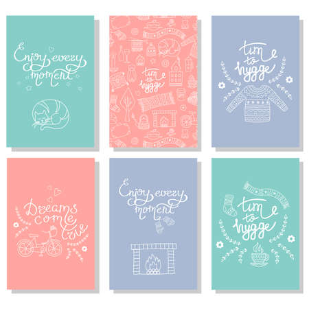 Set of Hygge cards with hand drawn vector illustrations of cozy home things. Danish living concept. Lettering time to hygge Illustration