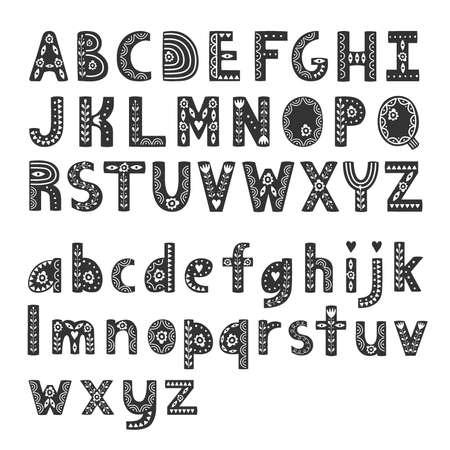Decorative alphabet in Scandinavian style, hygge font. Vector illustration