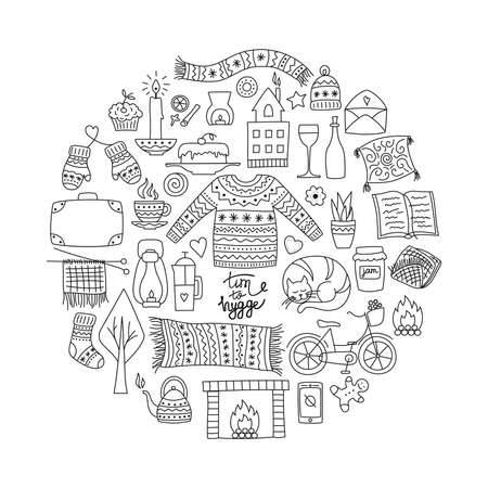 Time to Hygge. Hand drawn doodle icons set. Vector illustration for greeting card with lettering and cozy home things like candles, socks, oversize rug, tea, fireplace. Danish living concept. Ilustrace