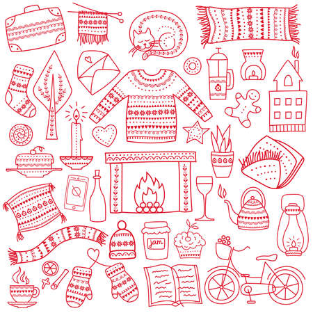 Time to Hygge. Hand drawn doodle icons set. Vector illustration for greeting card with lettering and cozy home things like candles, socks, oversize rug, tea, fireplace. Danish living concept. Vetores