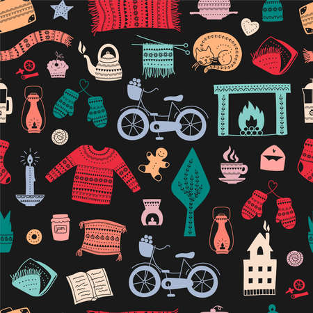 Hand drawn seamless pattern with hygge elements. Time to Hygge. Vector illustration