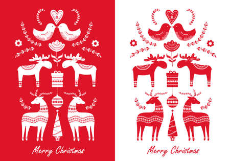 Set of Christmas hand drawn greeting cards in Scandinavian style. Vector illustration
