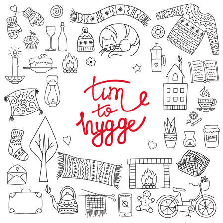 Time to Hygge. Hand drawn doodle icons set. Vector illustration for greeting card with lettering and cozy home things like candles, socks, oversize rug, tea, fireplace. Danish living concept. Illusztráció