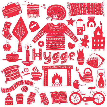 Hygge. Hand drawn icons set. Vector illustration for greeting card with lettering and cozy home things like candles, socks, oversize rug, tea, fireplace. Danish living concept. Stock Illustratie