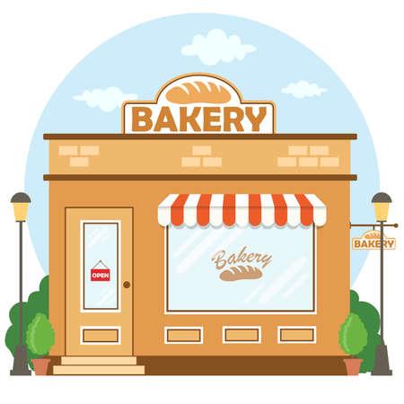 Facciata dell'edificio del negozio di panetteria con l'insegna. Stile piatto. Illustrazione vettoriale