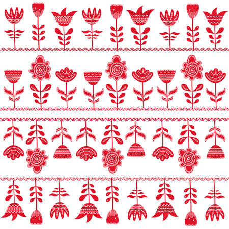 Scandinavian seamless folk art  hand drawn pattern, Nordic style. Vector illustration Illustration