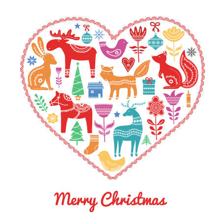 Christmas hand drawn elements in Scandinavian style with ornament in heart. Vector illustration