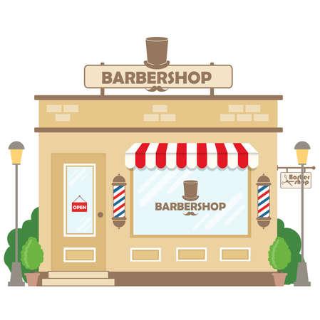 Street building facade barbershop. Front shop for design banner or brochure. Vector illustration
