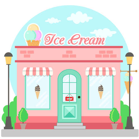 Facade ice cream shop with a signboard, awning and symbol in shopwindow. Front shop for brochure or banner. Vector illustration Stock Illustratie