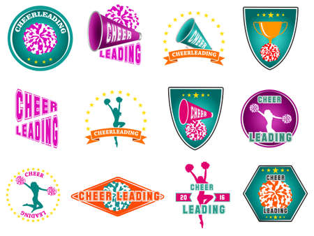 Set of labels, logos for cheerleading. Vector illustration 矢量图像