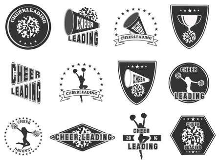 Set di etichette, loghi per cheerleading. Illustrazione vettoriale