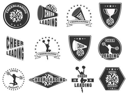 Set of labels, logos for cheerleading. Vector illustration Çizim