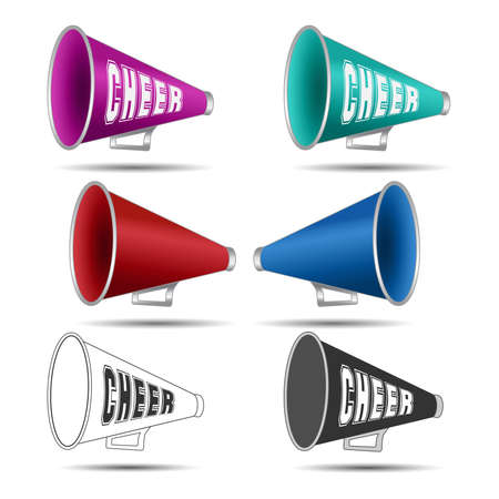 Megaphone-Cheer used by cheerleaders with the word cheer on them. Vector illustration Vettoriali