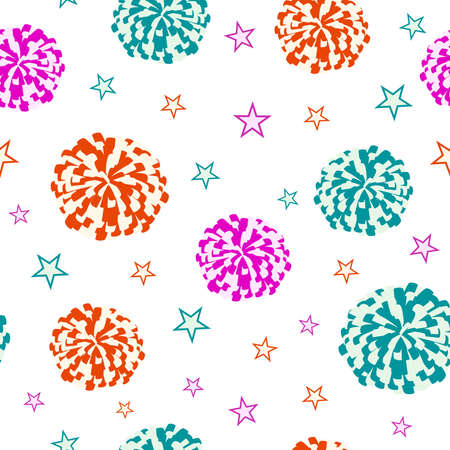 Cheerleading. Seamless pattern with pompoms and stars. Vector illustration Vettoriali