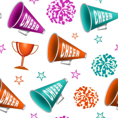 Cheerleading. Seamless pattern with pompoms, cup, stars and megaphones. Vector illustration