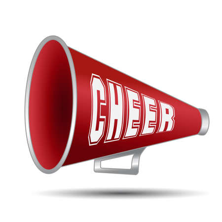 Megaphone-Cheer used by cheerleaders with the word cheer on them. Vector illustration Çizim