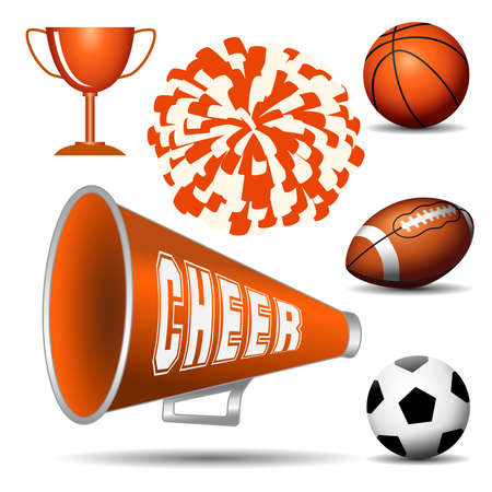 Cheerleading. Pompom with balls, cup and megaphone. Vector illustration