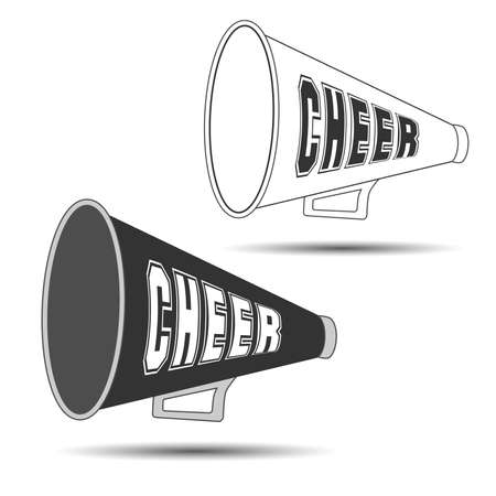 Megaphone Cheer used by cheerleaders with the word cheer on them. Vector illustration