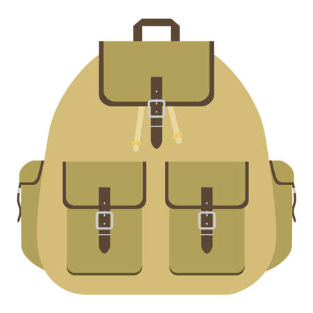 Retro camping backpack. Tourist backpack logo. Flat design vector illustration
