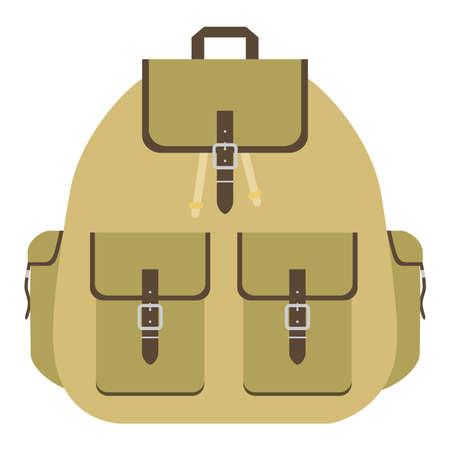 Retro camping backpack. Tourist backpack logo. Flat design vector illustration