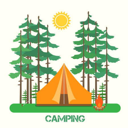 Forest camp. Tent with a campfire in forest. Vector illustration