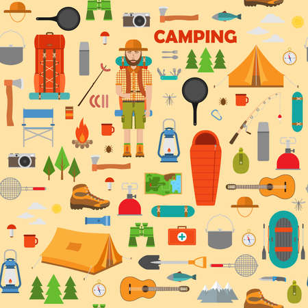 Camping, hiking and fishing seamless pattern. Vector illustration.