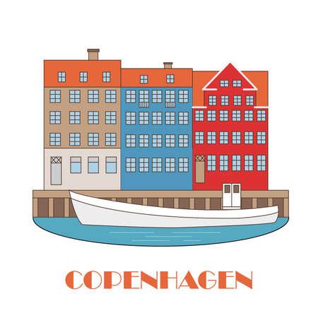 Kopenhagen Dänemark, nordische Hauptstadt. Alte europäische Stadt. Symbol für Reisebüro. Vektorillustration