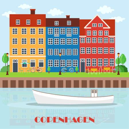 Kopenhagen Dänemark, nordische Hauptstadt. Alte europäische Stadt. Landschaft für Reisebüro. Vektorillustration