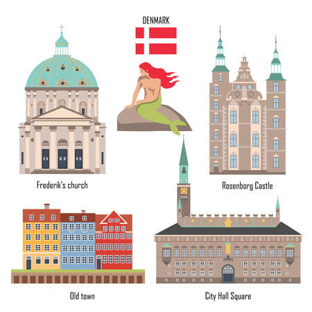 Denmark set of landmark icons in flat style: City Hall Square, Frederiks Church, Rosenborg Castle and Old town with houses. Mermaid. Travel sightseeing collection. Vector illustration.