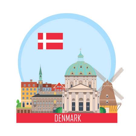 Dänemark Kopenhagen Hintergrund mit nationalen Attraktionen. Vektorillustration. Symbol für Reisebüro. Vektorgrafik