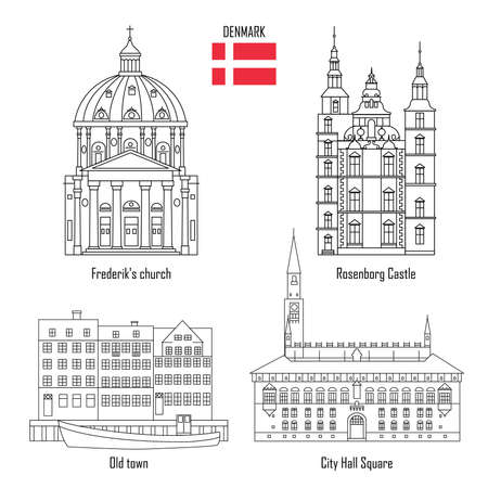 Denmark set of landmark icons in flat style: City Hall Square, Frederik's Church, Rosenborg Castle and Old town with houses. Travel sightseeing collection. Vector illustration. Vectores