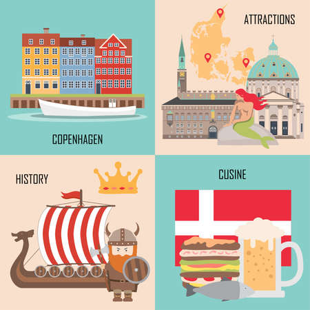 Denmark set with Copenhagen, traditional cuisine, history and national attractions backgrounds. Vector illustration