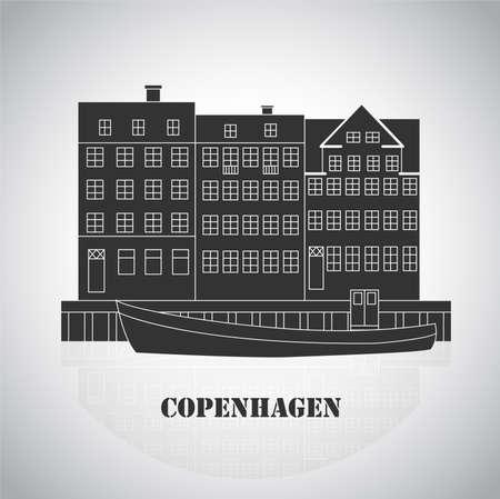 Copenhagen Denmark, Nordic capital. Old european city. Icon for travel agency. Vector illustration Vetores