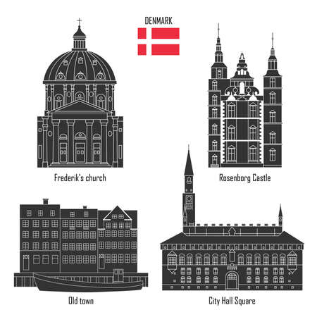 Denmark set of landmark icons in flat style: City Hall Square, Frederik's Church, Rosenborg Castle and Old town with houses. Travel sightseeing collection. Vector illustration.