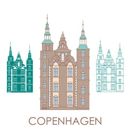 Schloss Rosenborg. Das Symbol von Kopenhagen, Dänemark. Vektorillustration. Symbol für Reisebüro Vektorgrafik