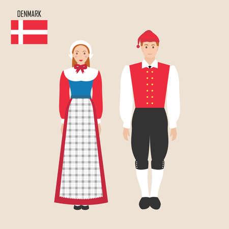 Danish man and woman in traditional costumes. Vector illustration Vektorgrafik