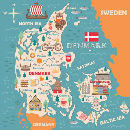 Stilisierte Karte von Dänemark. Reiseillustration mit dänischen Wahrzeichen, Architektur, Nationalflagge und anderen Symbolen im flachen Stil. Vektorillustration Vektorgrafik