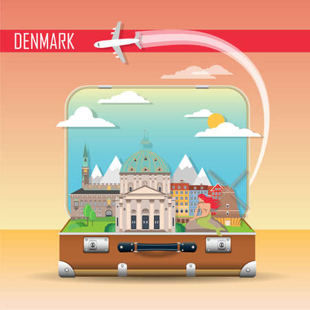 Travel background. Suitcase with landmarks of Denmark. Web advertising banner. Infographic luggage with symbols. Vector illustration.