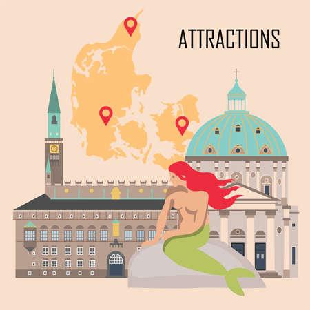 Dänemark Hintergrund mit nationalen Attraktionen. Vektorillustration