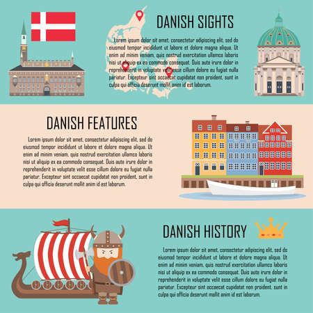 Denmark banner set with danish sights, features, history. Vector illustration Illustration
