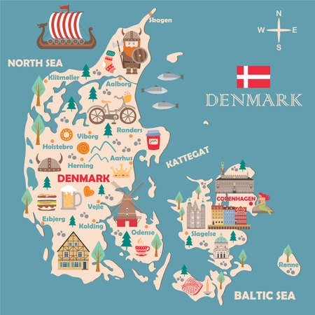 Stylized map of Denmark. Travel illustration with danish landmarks, architecture, national flag, and other symbols in flat style. Vector illustration Vector Illustration